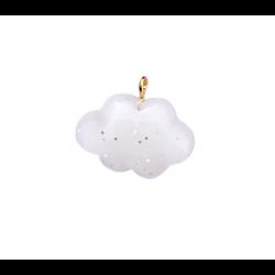 Breloque nuage à paillettes en résine 25x21mm