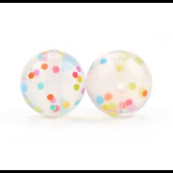 Perle ronde en silicone confetti multicolore / transparent