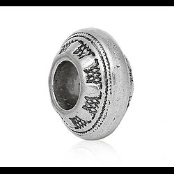 Perle toupie gros trou en métal argenté 13x7mm