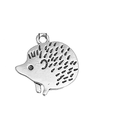 Breloque hérisson en métal argenté 21x20mm