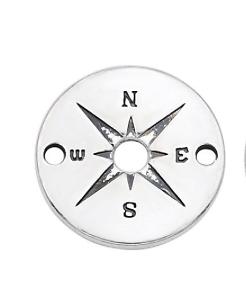 Connecteur rond boussole en métal argenté 20mm