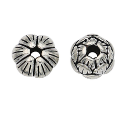 2 perles fleur de lotus en métal argenté massif 8x5mm