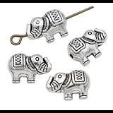 2 perles éléphant en métal argenté 12x8,5mm