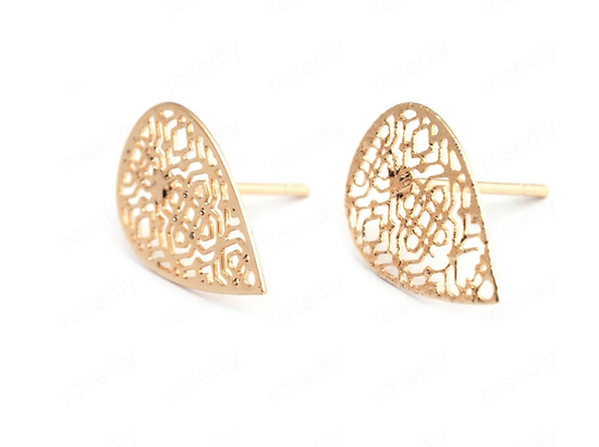 Clous d'oreille goutte ajourée en métal doré 24K 16x10mm