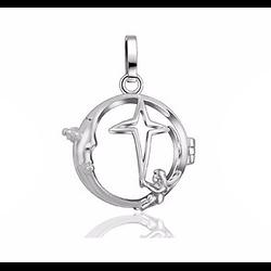 Cage à bola en métal argenté étoile et ange 30x29mm