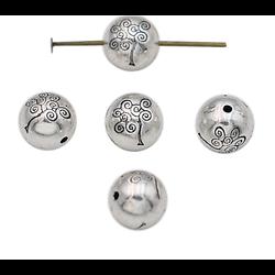 Perle ronde et arbre de vie en métal argenté 8mm
