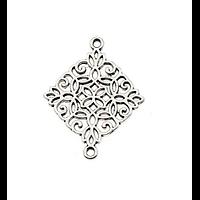 Connecteur losange et arabesques en métal argenté 28x22mm