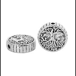 2 perles palets massives à l'arbre de vie en métal argenté 15x4mm