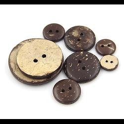 Bouton rond en coco brun 25mm