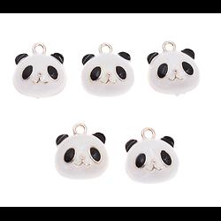 Breloque panda émaillée sur métal argenté 18mm