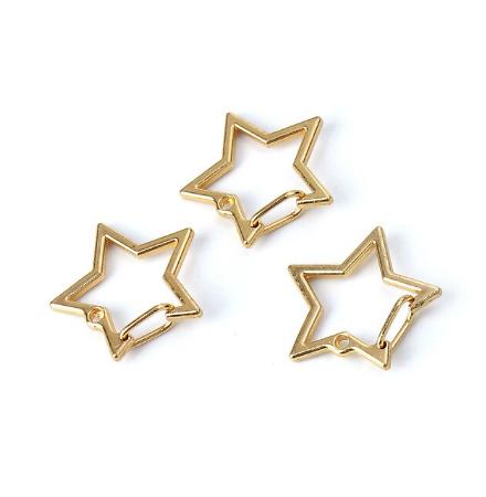 Mousqueton étoile en métal doré 26mm