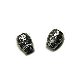 2 perles calavera en métal argenté massif 8x10mm