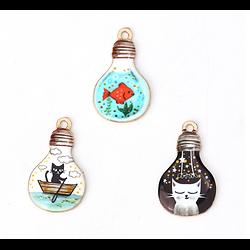 Breloque émaillée ampoule et illustration chat 21x16mm