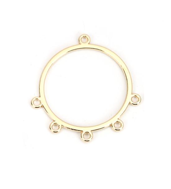 Connecteur rond créole en métal doré brillant 33x31mm