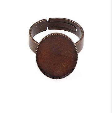 2 supports bague à plateau ovale 10x13mm en métal couleur cuivre réglables 18mm
