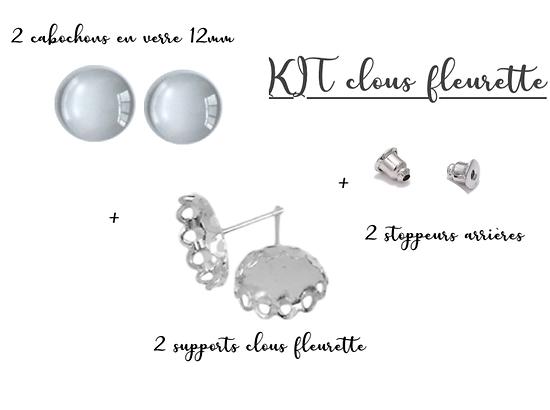 Kit pour boucles d'oreille clou en métal argenté et cabochon en verre 12mm