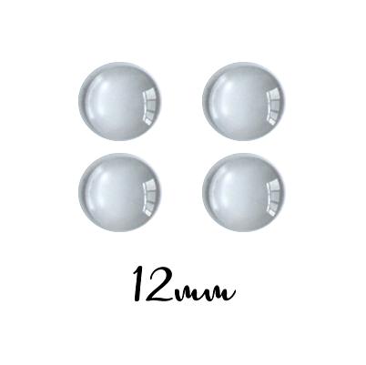 4 cabochons ronds ou dômes de verre 12mm