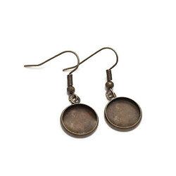 Paire de boucles d'oreille en métal couleur bronze pour cabochon rond 14mm