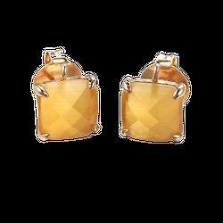 Paire de clous d'oreille en cristal et métal doré - jaune safran 10x11mm