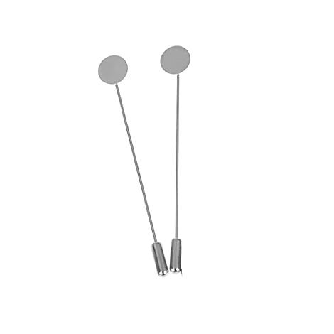 2 fibules / supports de broche en métal argenté 17x77mm
