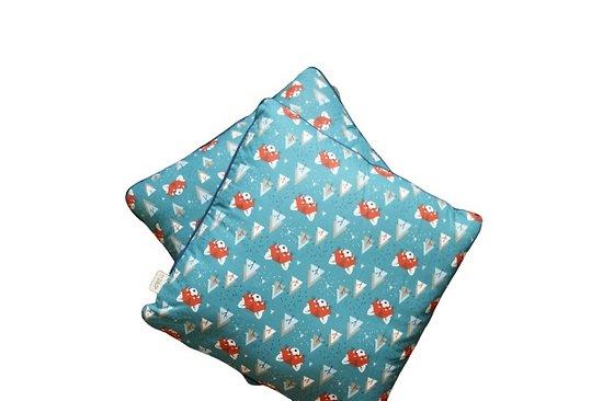 Housse de coussin passepoilée déhoussable en coton - Motif Ratons laveurs 40x40cm