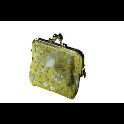 Porte-monnaie rétro aux arts floraux jaunes