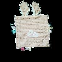 Doudou plat Pat le lapin et ses étiquettes