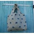 Grand tote bag en lin et éléphants bleus