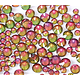 100 strass hotfix à facettes arc-en-ciel vert/rose 3,8-4mm/SS16