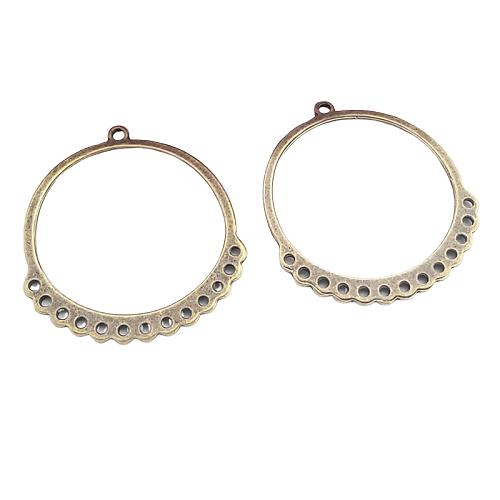 2 grands anneaux connecteurs en métal couleur bronze 37x34mm