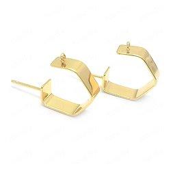 Créoles hexagonales en métal doré24k - 25x18x5mm avec clous