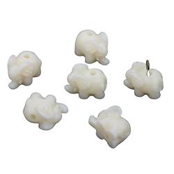 Perle éléphant en acrylique ivoire 15x9mm