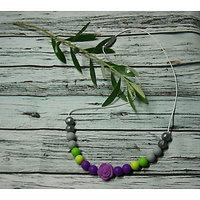 Collier d'allaitement argenté / gris / vert / violet à la rose