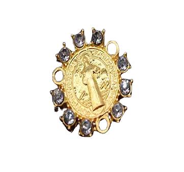 Coeur de chapelet en métal doré et strass 19mm