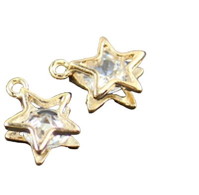 Breloque étoile doré et son strass 11x14mm