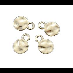 5 petites breloques rondes martelées en métal argenté 10mm