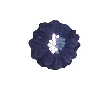 Applique fleur bleu marine en tissu 31mm