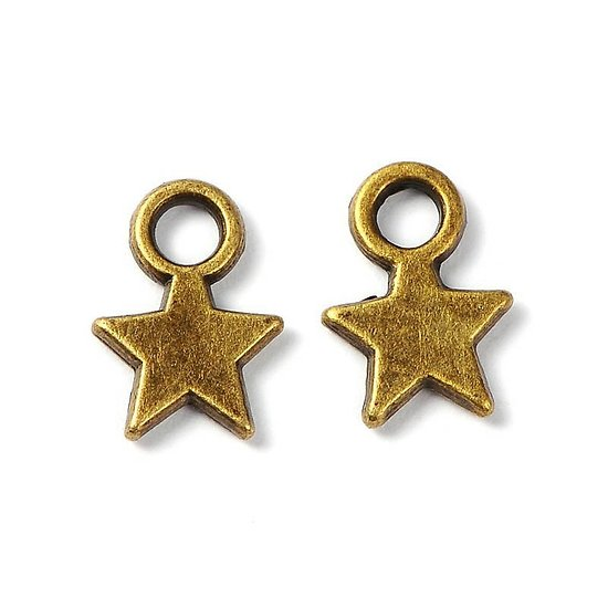 5 mini breloques étoile fine en métal couleur bronze 11x8mm