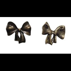 Grand connecteur noeud papillon ruban en métal couleur bronze 30x28mm