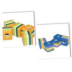 5 perles cubes à rayures et colorées en acrylique 9x9x8mm