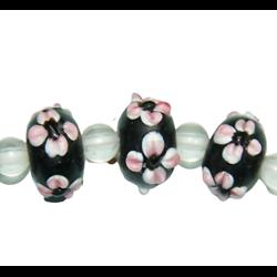 3 perles noires à fleurs roses en verre 10mm