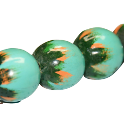 Grosse perle vert/orange en bois peint 25mm