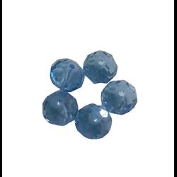 5 perles en cristal de Bohème à facettes bleu - 10x8mm