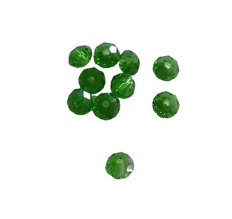 10 perles en cristal de Bohème à facettes vert gazon 6x5mm