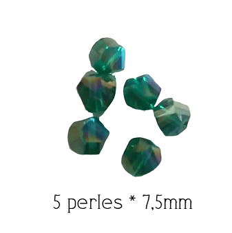 5 perles en cristal de Bohème Hélix vert foncé AB 7,5mm