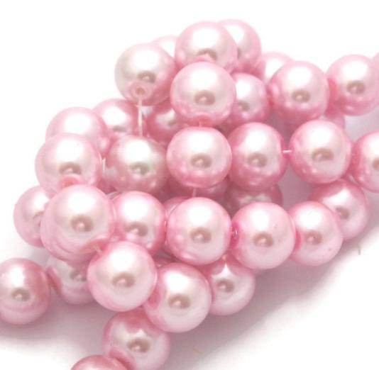 5 perles en verre rose nacré 12mm