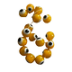 5 perles rondes Devil Eye jaune 8mm