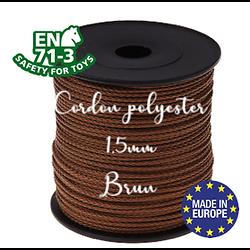 Fil / Cordon / Cordelette polyester pour attache-tétine 1,5mm - BRUN