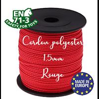 Fil / Cordon / Cordelette polyester pour attache-tétine 1,5mm - ROUGE