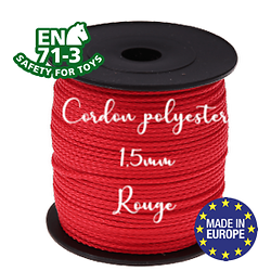 Fil / Cordon / Cordelette polyester pour attache-tétine 1,5mm - ROUGE